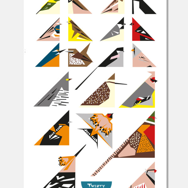 Twenty Birds 20 bird tea towel Unusual Birds