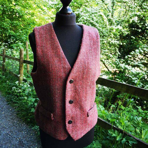 Ali Sharman Handweaver - handwoven waistcoat in dark red tweed. Woven in my Cumbrian workshop