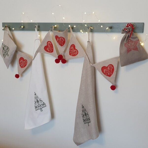 needle in the mill, gift bags and t towels machine embroidered with a Scandinavian influence