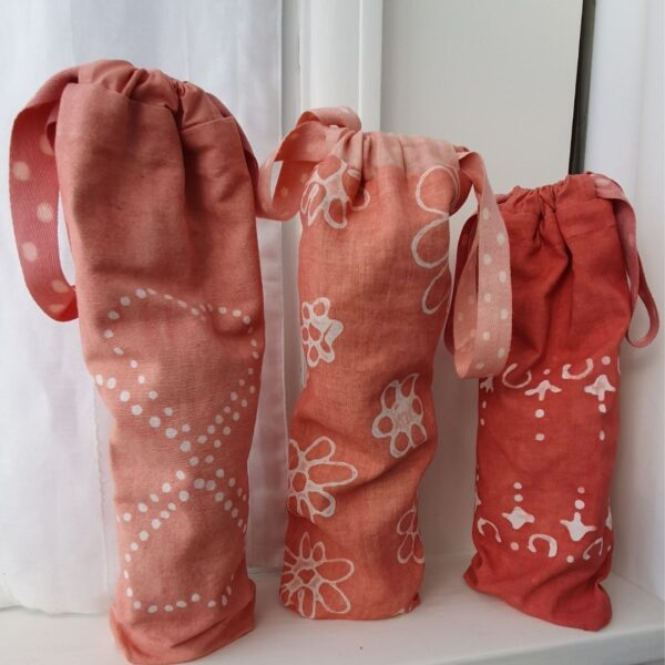 needle in the mill, reusable bottle gift bags, made in cotton and linen and hand dyed with madder
