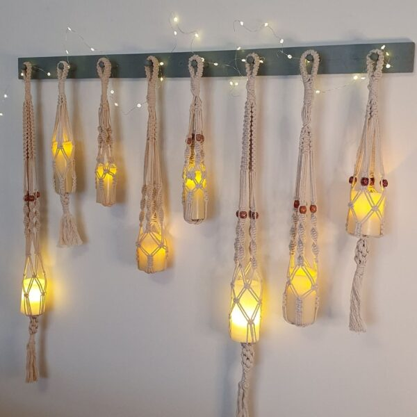 needle in the mill, macrame lanterns in natural cotton cord
