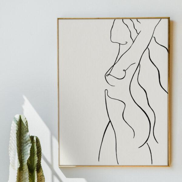 Eva, Minimalist Nude Line Art Giclee Print