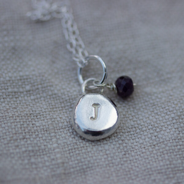 The Little Red Hen personalised recycled silver initial pendant handmade silver with sapphire bead