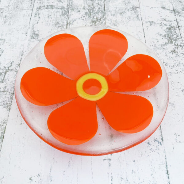 Blue Design Shed Fused Glass Dish. Retro flower pattern dish
