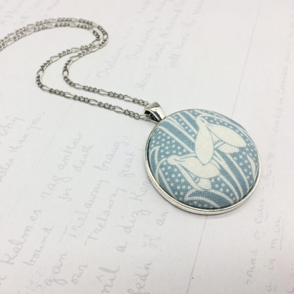 snowdrops light blue antique silver plated pendant by Bowerbird Jewellery