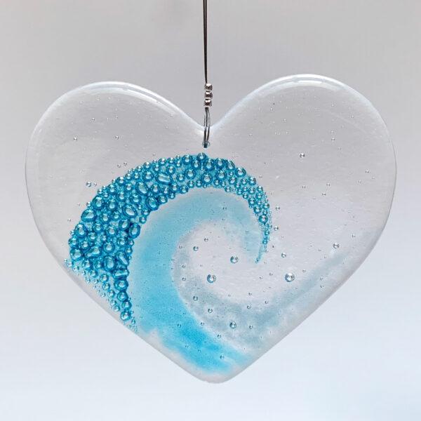 Blue Design Shed Fused Glass Wave Heart. Heart hanging