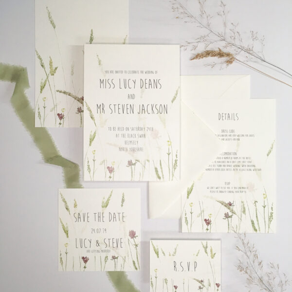 Hay Meadow wedding stationery suite close up