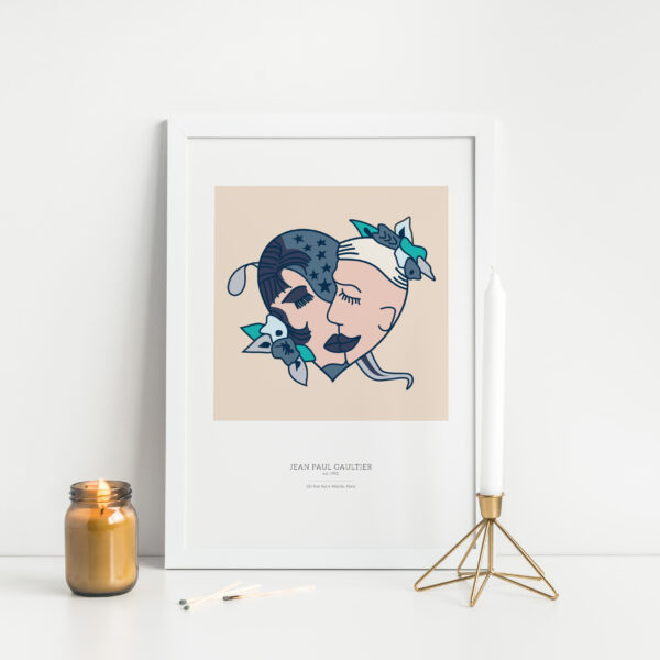 Gothenburg Print, John Paul Gaultier Sailor Tattoo print in a white frame next to a long candle