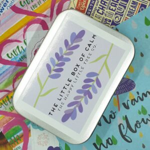 The Little Box of Calm by The Happy Little Tree Co and colourful background.