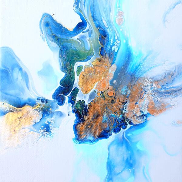 Charlotte Allum Artist, blue grey abstract acrylic fluid art resin