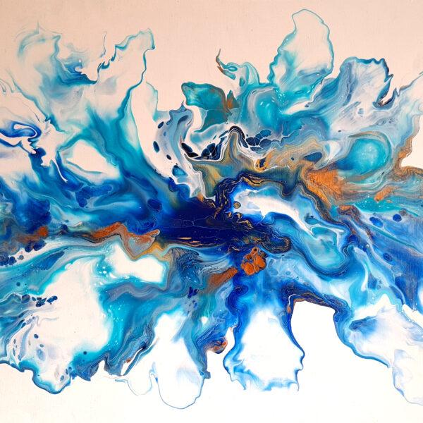 Charlotte Allum Artist, blue acrylic abstract fluid painting