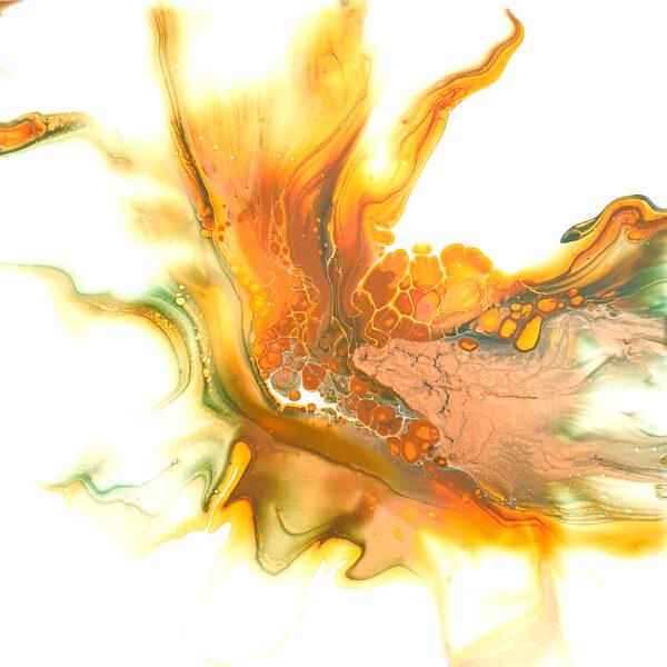 Charlotte Allum Artist, autumn orange abstract painting