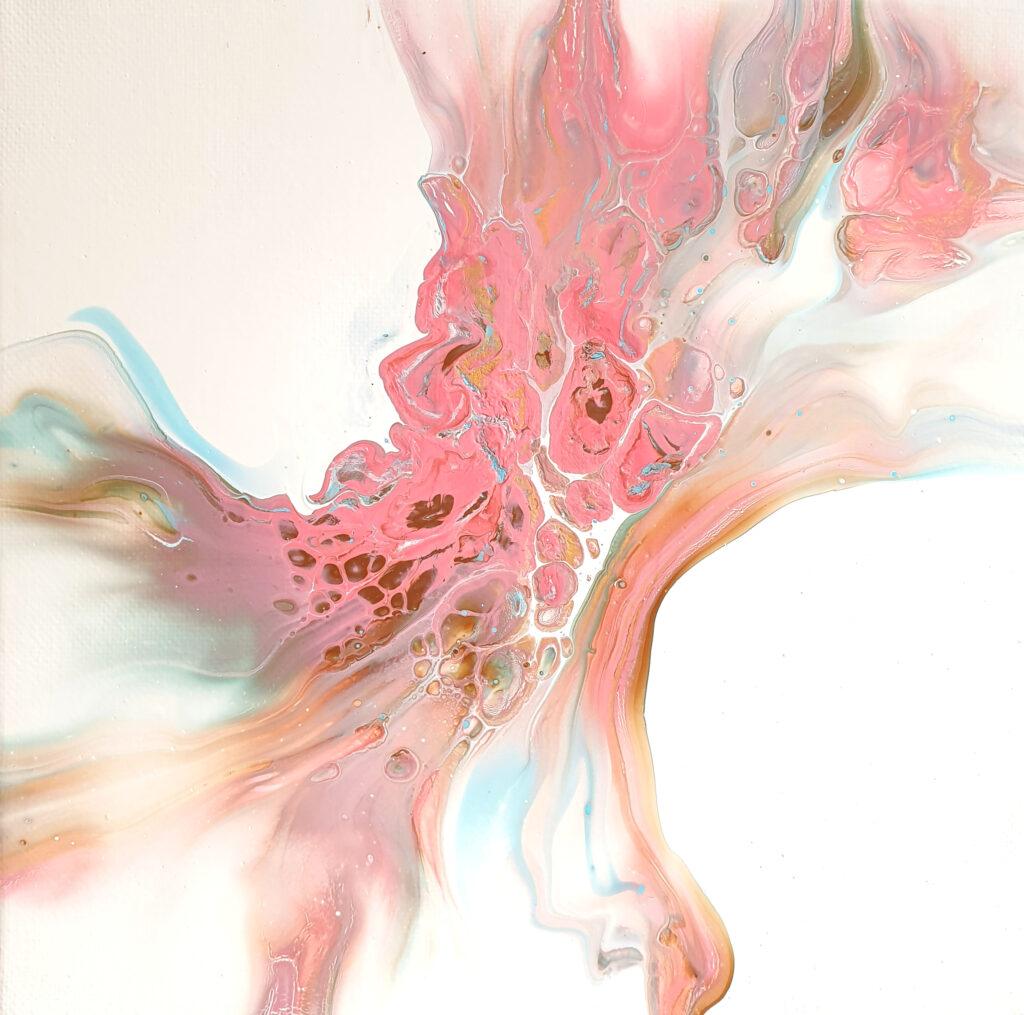 Charlotte Allum Artist, pink abstract acrylic fluid art