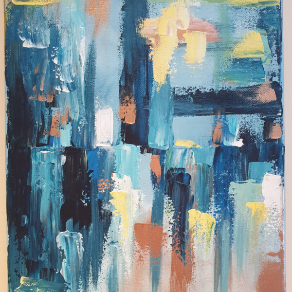 Charlotte Allum Artist, blue bronze palette knife abstract art acrylic painting