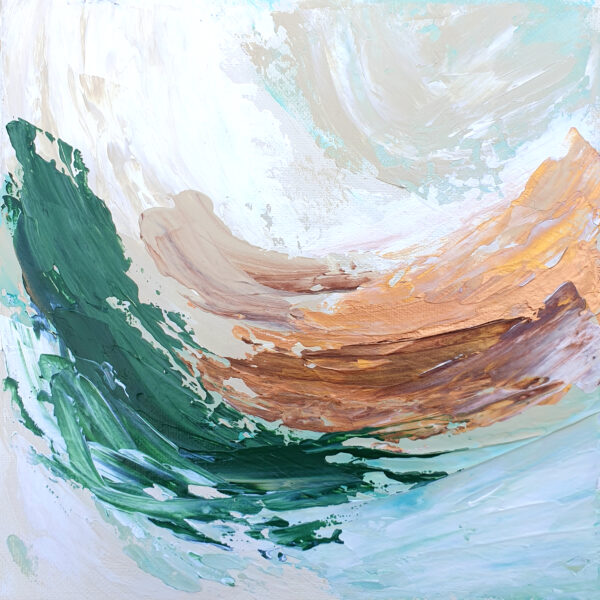 Charlotte Allum Artist, brown green palette knife abstract painting