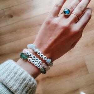 Rose Lemonade Crystals happy and love personalised crystal bracelets
