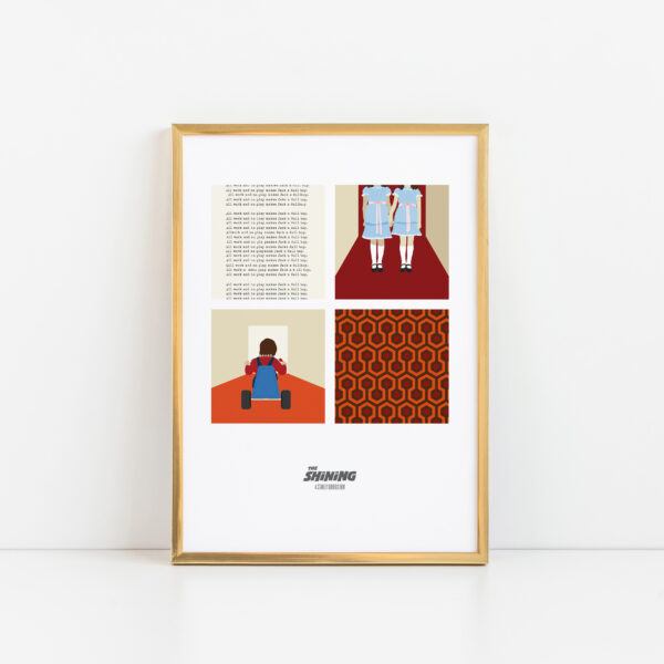 Gothenburg Print, The Shining unique 4 square print in a gold frame on a white background