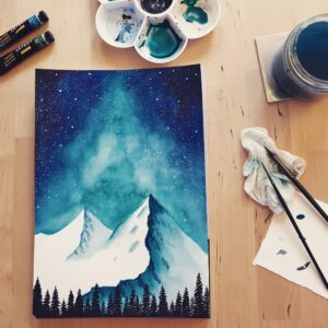 Beautiful mountainscape painting with starry night sky in the background and trees in the foreground. Beautiful celestial painting. Willow and Moon