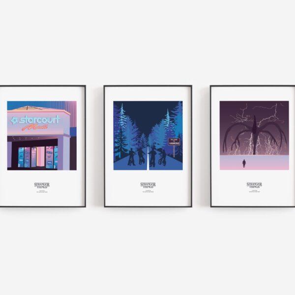 Gothenburg Print, Stranger Things trio of prints, Starcourt Mall, bikes and shadow monster