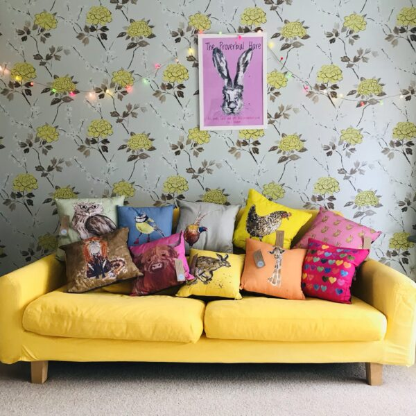 The proverbial hare arty cushions