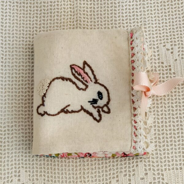 Atelier Holland Pink, White & Green Vintage Style Hand Embroidered Bunny Needlecase
