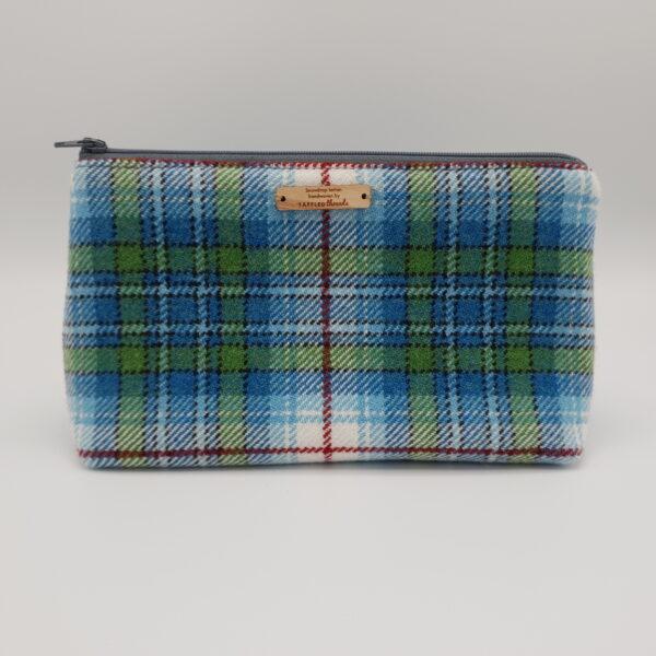 Taffled threads Snowdrop Tartan Accessory pouch on grey background