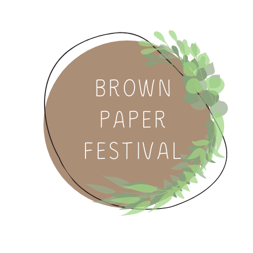 Brown Paper Festival's logo, brown circle with greenery at the side