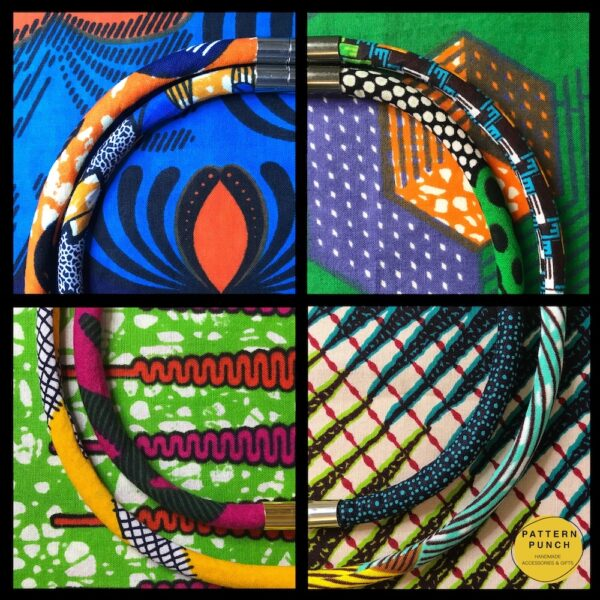 Just some of the patterns, prints and colours used by Pattern Punch in their textile jewellery collections.