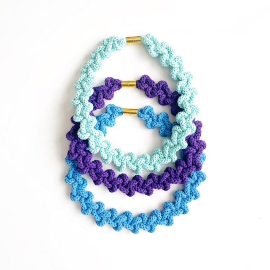 3 chunky cotton necklaces in Mint, Purple and Blue