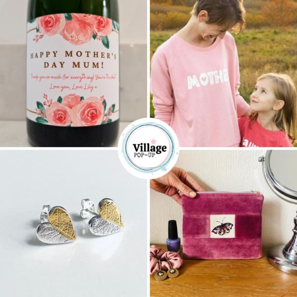 Wine, sweatshirt, earrings, bagVillage Pop Up Mother's Day Market