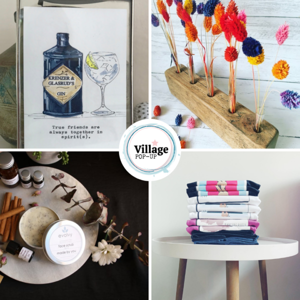 print, salvaged wood, skincare, shirts Village Pop Up Mother's Day Market
