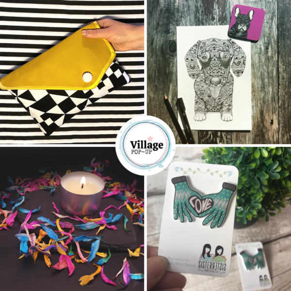 Clutch, art, candle, pin badge.Village Pop Up Mother's Day Market