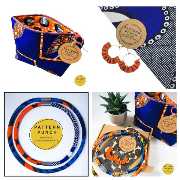 A collection of items - zip up bag, leather earrings, rope necklace from the Pattern Punch range.