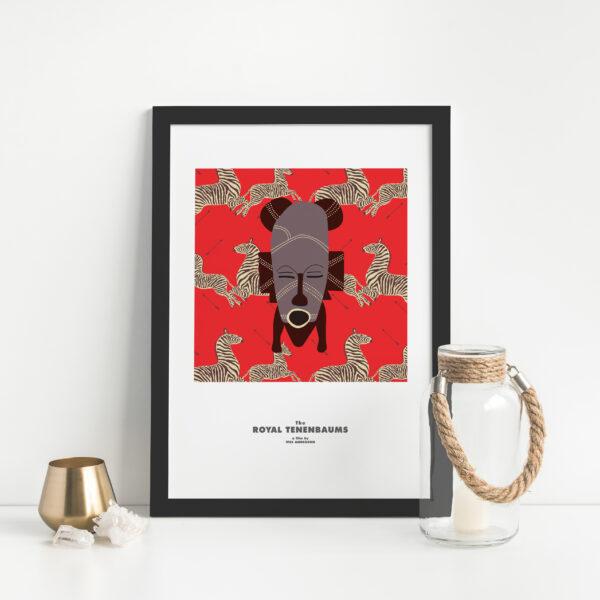 Gothenburg Print, The Royal Tenenbaums Zebra Wallpaper with African Mask print in a black frame next to a glass jar
