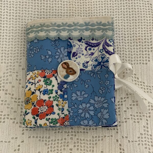 Peter Rabbit Bunny style Needlecase. Shades of blue with hand painted detail , Vintage ribbon and braid