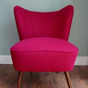 Sarah Parry Design, Reupholstered Vintage 1950's Pink Cocktail Chair