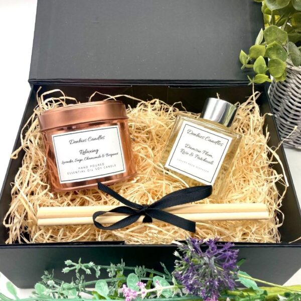 Denbies Candle, Essential oil candle and reed diffuser gift set
