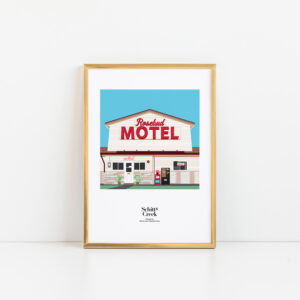 Gothenburg Print, Schitt's Creek Motel print in a gold frame on a plain background
