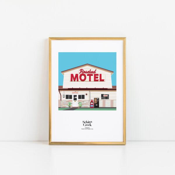Gothenburg Print, Schitt's Creek Motel print in a gold frame on a plain background