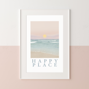 Happy Place print illustrated by Jessica Leek for Little Eden Studio