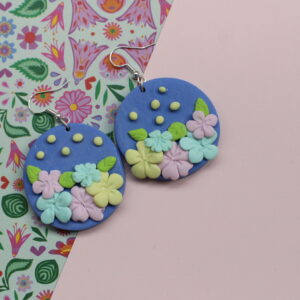 Blue Earrings with delicate 3d florals and spots