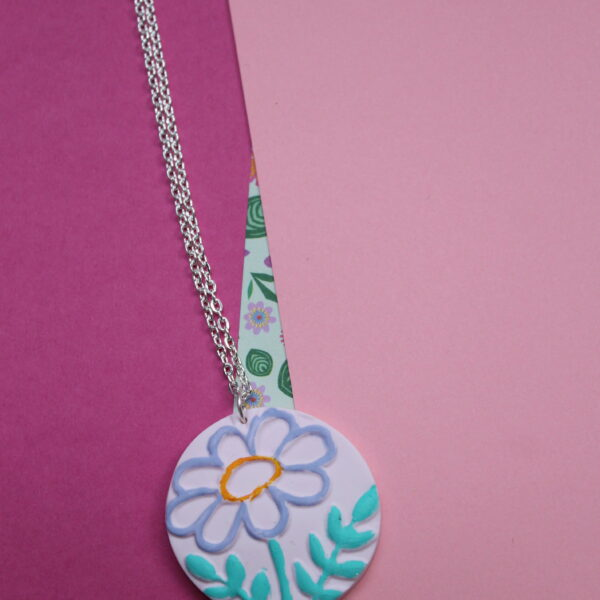 Pink polymer clay hand painted and embossed necklace. Handmade and unique apart of the flourishing florals collection