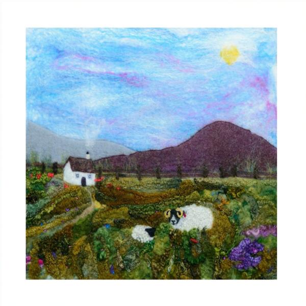 Ann Smith Art, Heather Hill & Ewe Mounted Giclee Print