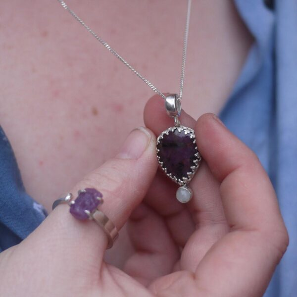 The Archivist and the Sculptor, Ruby and moonstone necklace with adjustable raw ruby ring