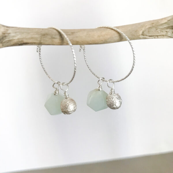 gail ann jewellery,silver hoop earrings with silver and amazonite dangly drops