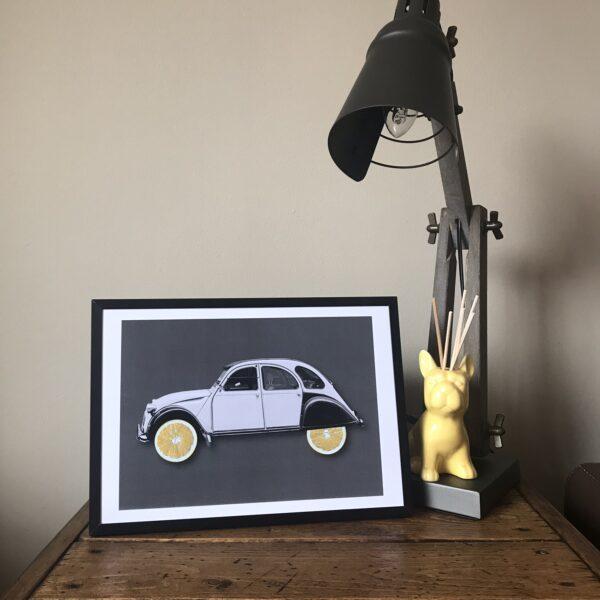 Almond Creative, citrus 2cv car lemons art print.