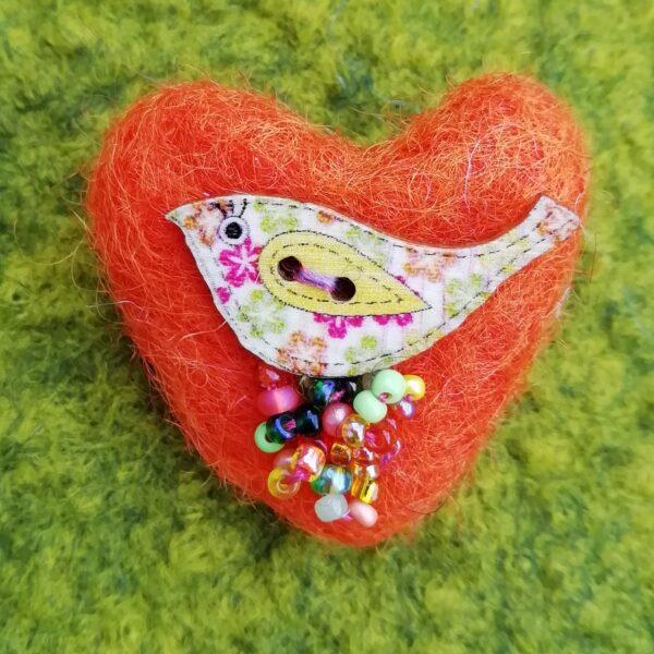 Ann Smith Art, Orange Wool Felt Heart Bird Brooch