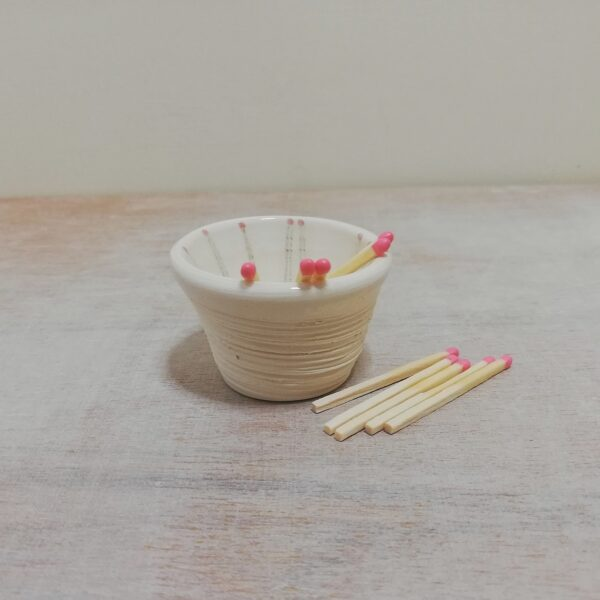 lucyandjaneceramics, handmade ceramic match striker with handpainted matches unique candle lover gift idea