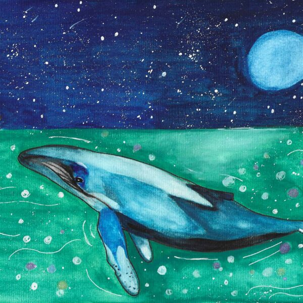 Whale swimming in the green ocean lit by moonlight swimming up to you a soung boy in a sailboat with a multicoloured striped jumper. The young boy is happy to see the whale and is leaning over the boat to touch the water. The sky is starry and the moon is bright.