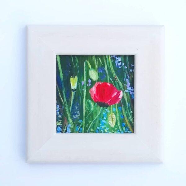 Ann Smith Art, Poppy Mini Framed Acrylic Painting